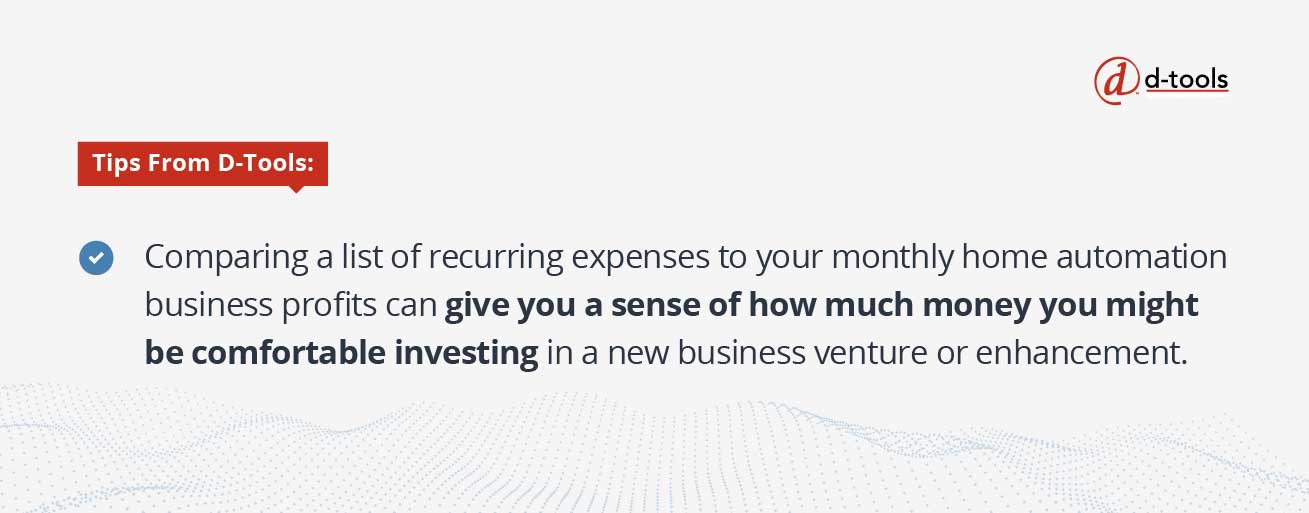 D-tools: increase profitability - gives you a sense of how much money you might be comfortable investing