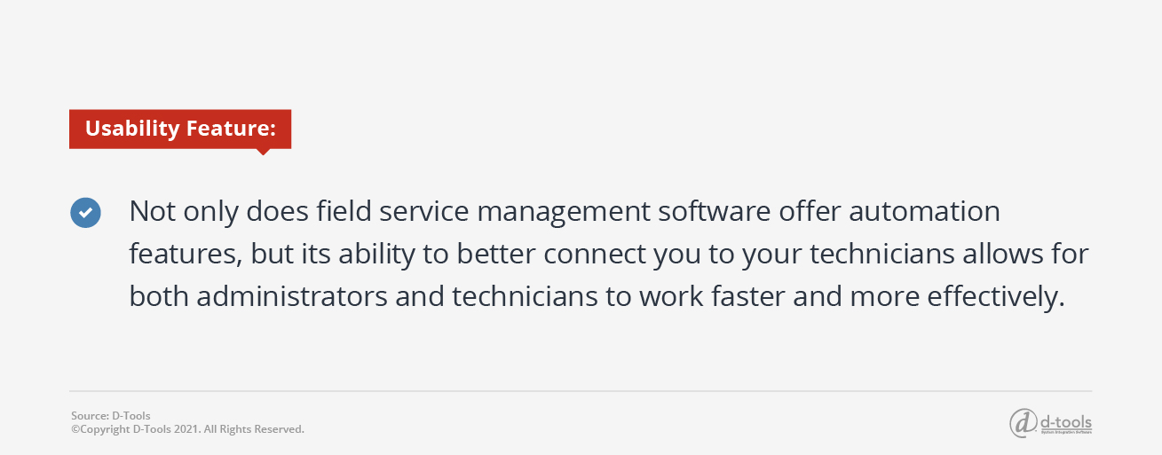 D-tools: service management software - automation features and connect with techs